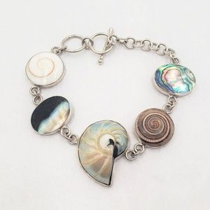 Sterling Silver Multi Shell Bracelet